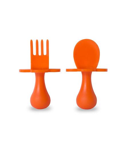 Grabease Self Feeding Spoon and Fork Set - Orange