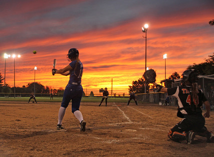 Tiger softball under the sunset