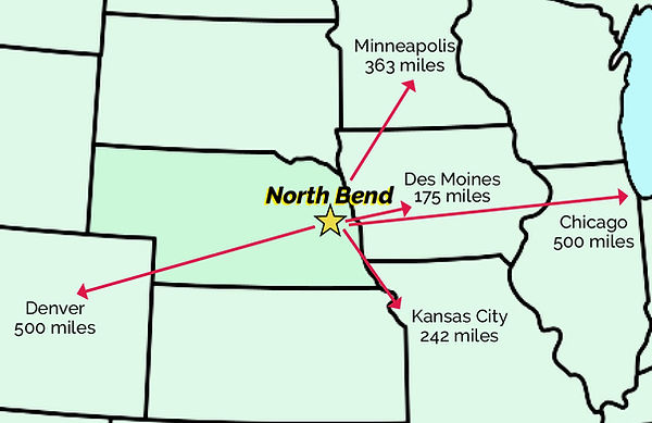 North Bend's distance to regional cities.