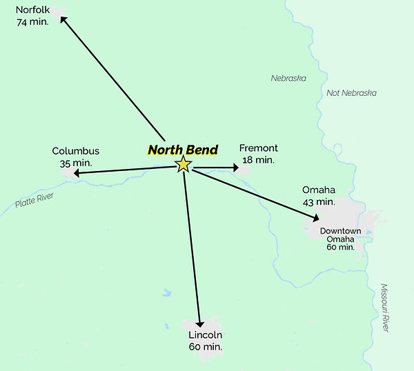 North Bend distance to nearby cities.