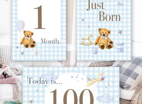 新作デザイン*爽やかブルーのギンガムチェック男の子用月齢カードのご紹介です^^