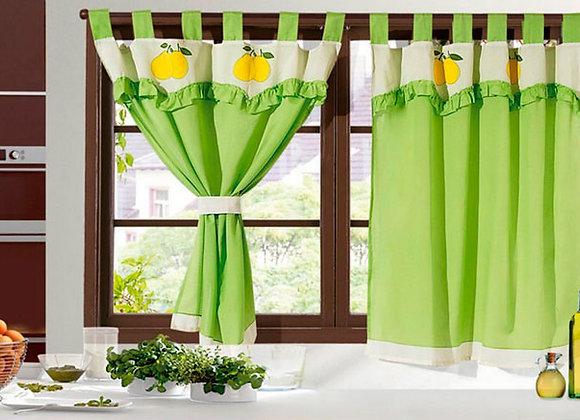 Cortina de cocina color verde