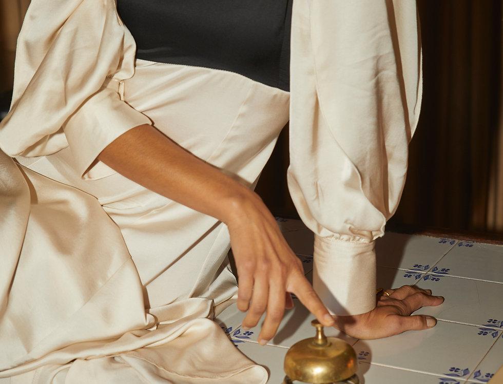 Gina Balloon-Sleeve Dress | B&W