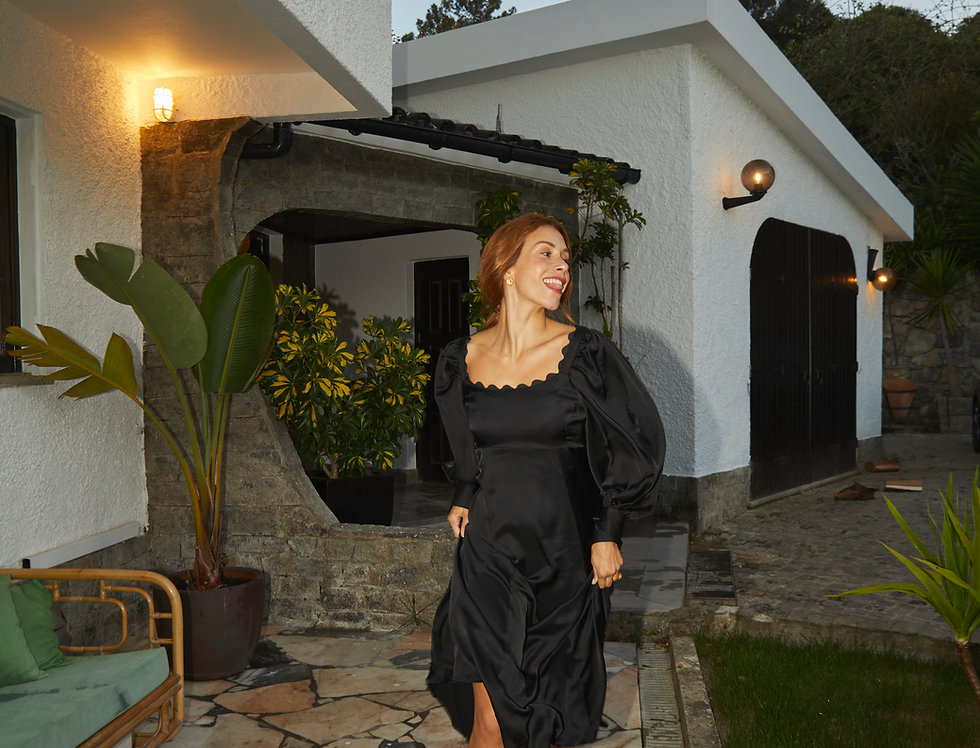 Gina Balloon-Sleeve Dress | Black