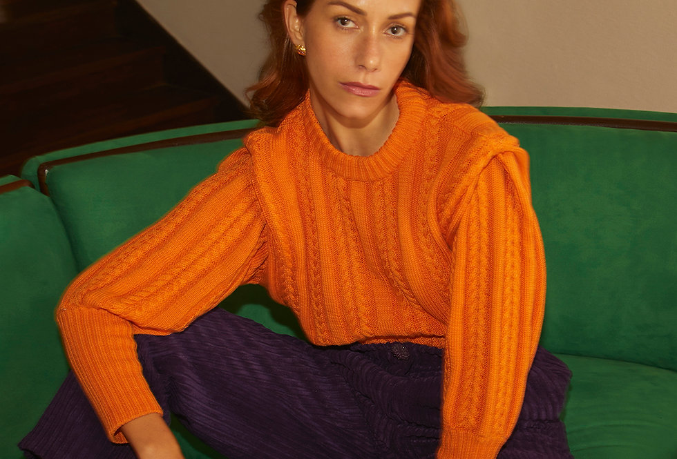 ICONIC Cable Knit Sweater | Orange