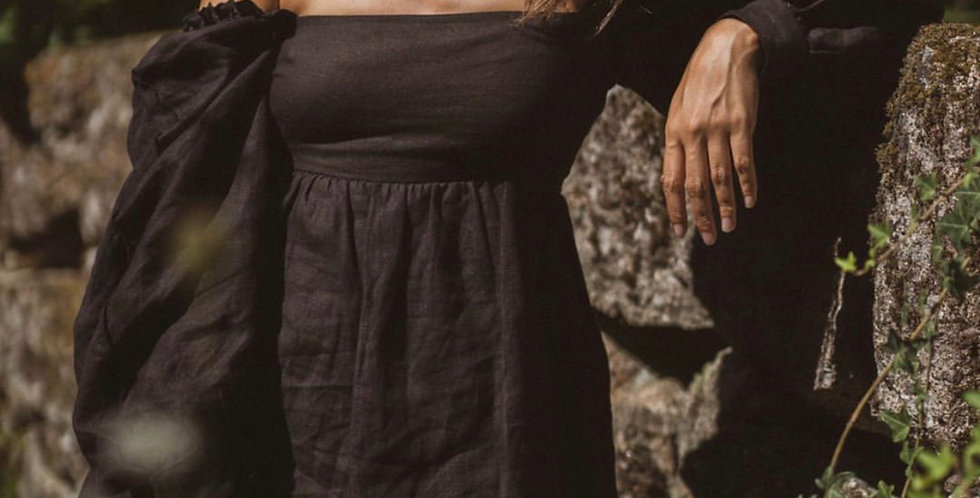 Bossa Dress - Black Linen