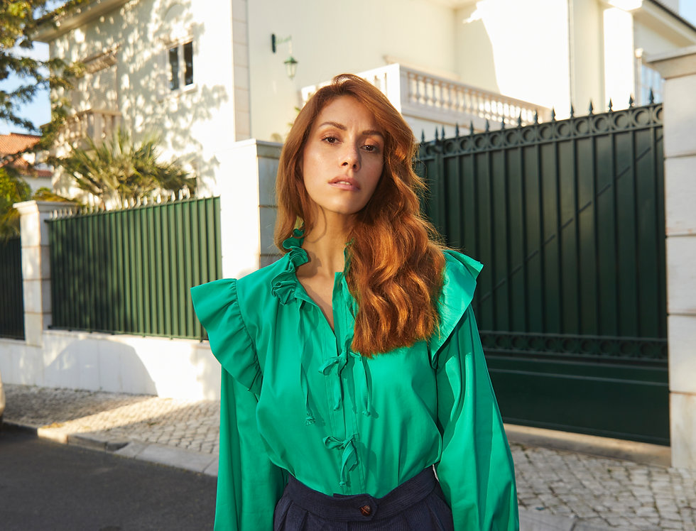 Grife Ruffled Cotton Blouse | Power Green