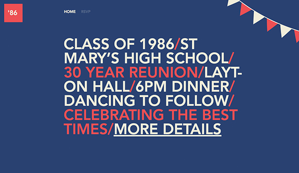 Events website templates – High School Reunion