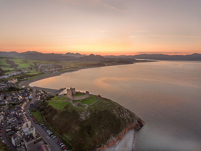 Aerial view of Criccieth castle and beac
