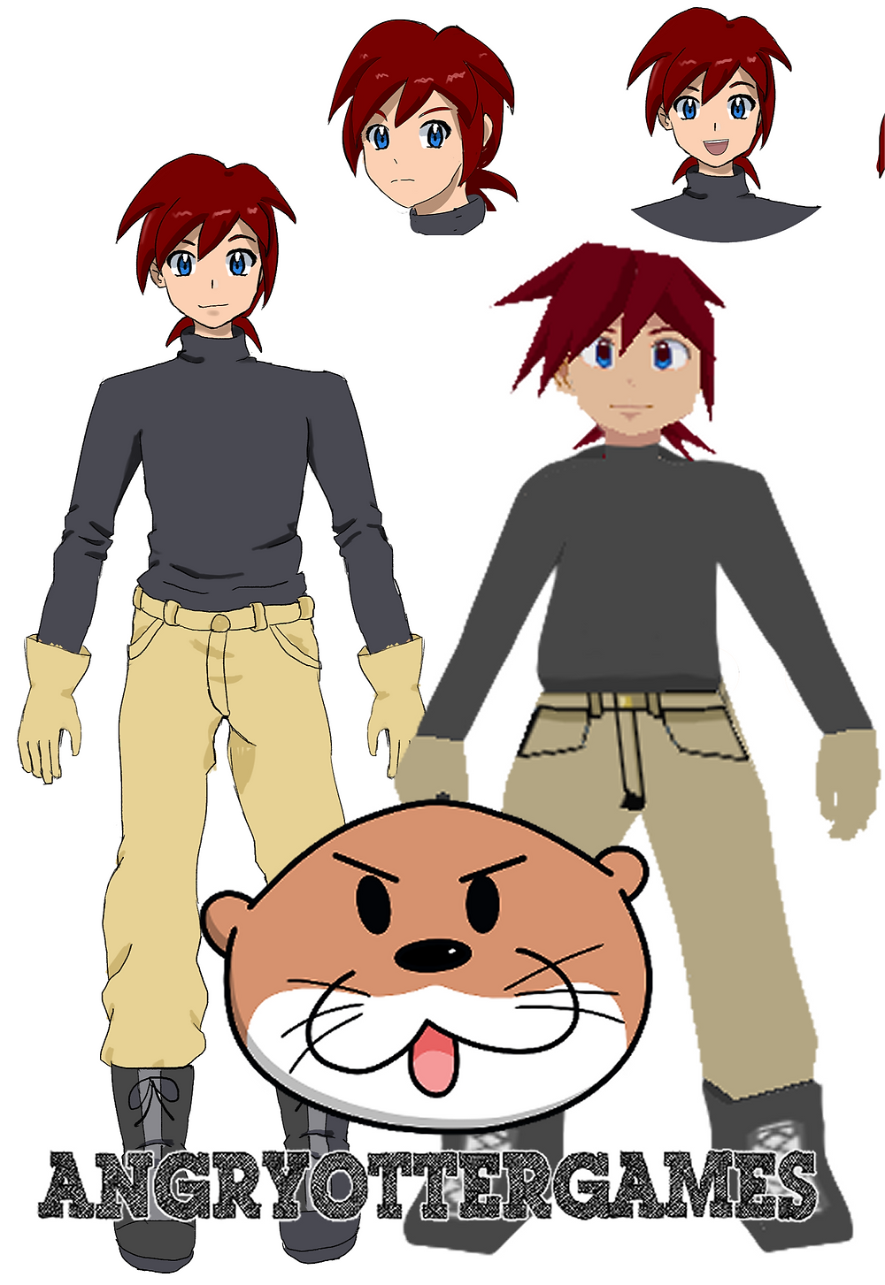 A redesign of the main character, Abner. A photo model next to a drawing of him.