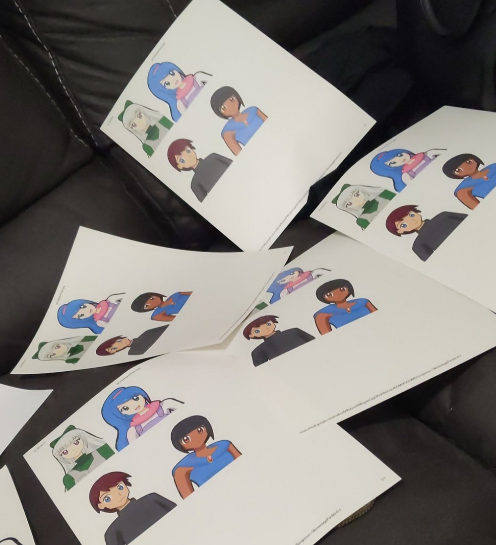 Photo of multiple stickers printed on the wrong end, of characters Abner, Adamina, Zaide, Camille