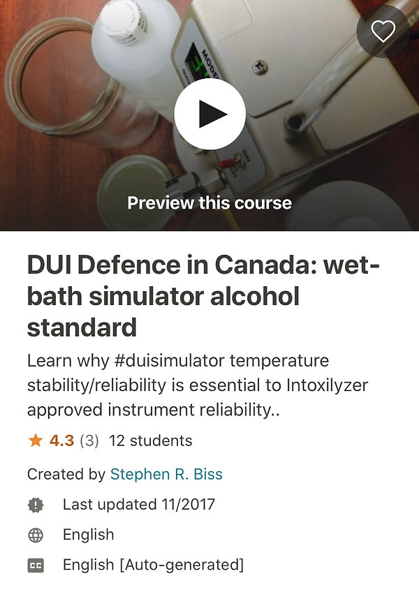 DUI Defence in Canada wet bath simulators and alcohol standard
