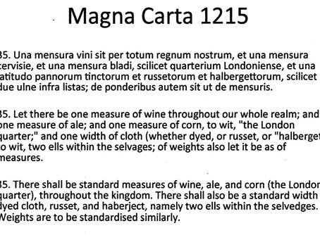 Applying Magna Carta and the Concept of the Measurement Standard - the Etalon