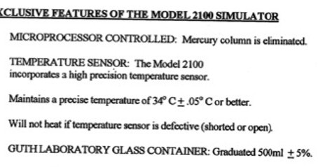 What is the simulator manufacturer's specification for simulator temperature?