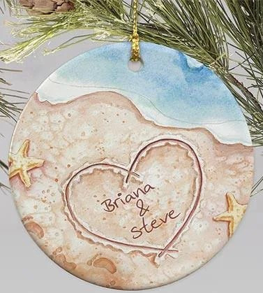 Personalized beach scene ornament
