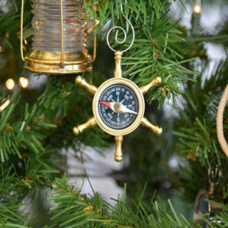 Brass ship's wheel compass ornament