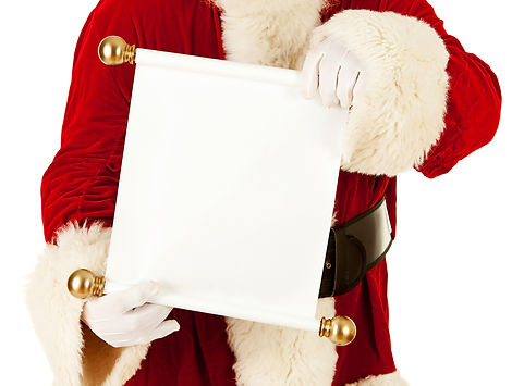 Santa Claus_ Looking At Blank Paper Scro