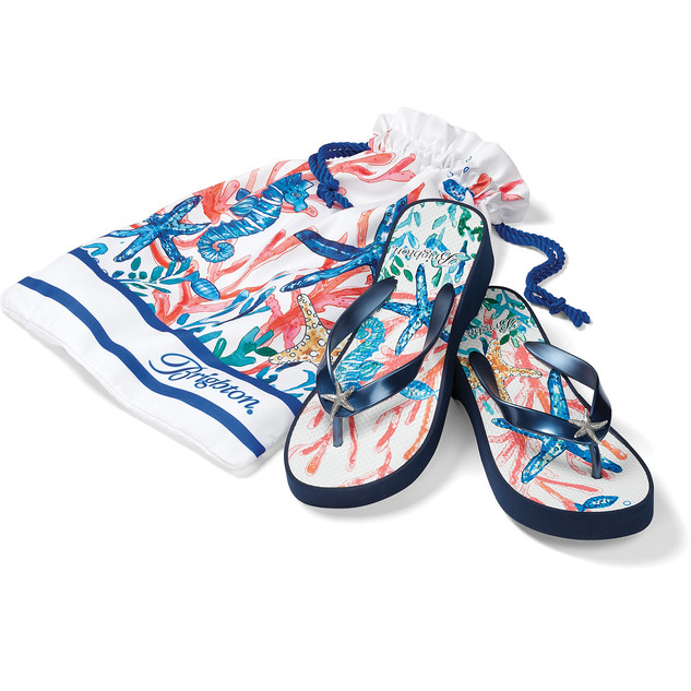 I love the quality of Brighton and the wedge heel. Comes with a little tote to take to the beach, pool or your mani/pedi.