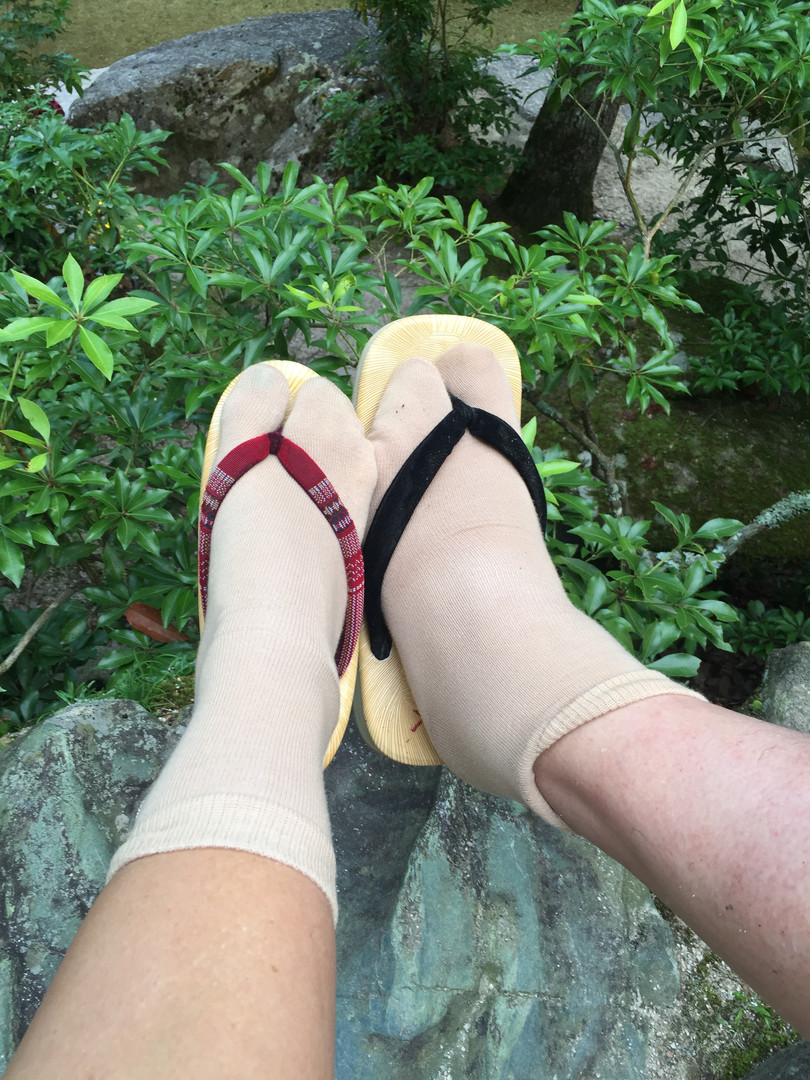Relaxing by the stream with our sandals