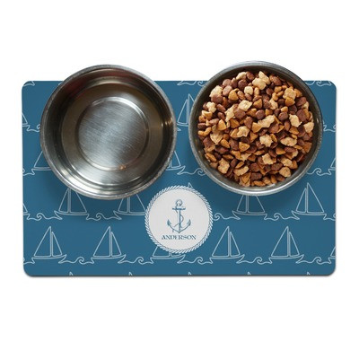 Rope Sail Boats Personalized Pet Bowls and Matt