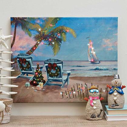 Kirkland's Christmas Vacation Beach LED Canvas Art Print