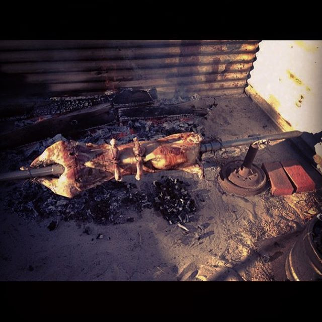 Lamb on the spit, Swan Valley, Western Australia