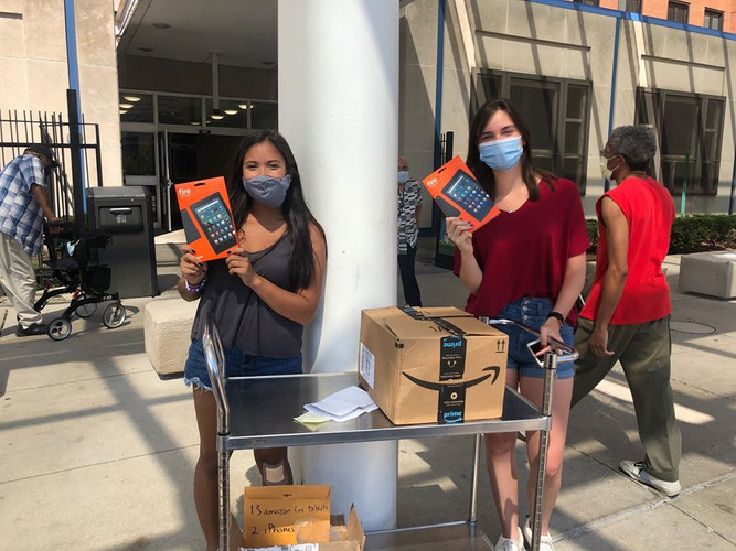 Our Illinois lead, Jasmine Rios and volunteer, Meg Whalen, dropped off 15 devices to the Chicago VA Medical Center! Their drop-off included 13 brand new Amazon Fire Tablets to help low-income veterans connect to their physicians, family, and friends. Great work!  If you're interested in donating a device/funds, visit