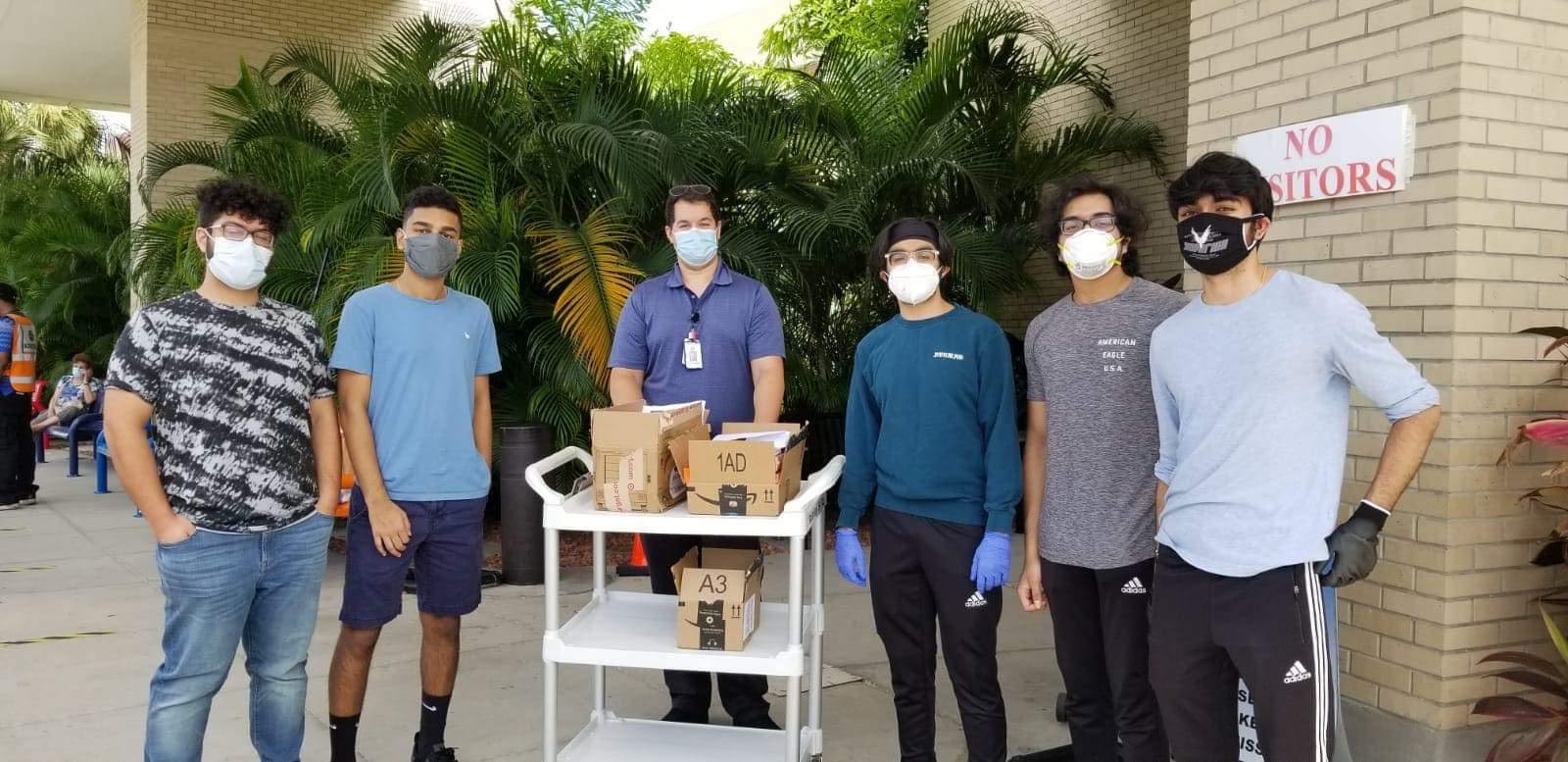Our FL volunteers, Shameer Kazi, Manish Batta, Neep Patel, Rohan Kommireddy, and Shray Mehra, donated 23 devices to the James A. Haley Veterans' Hospital in Tampa, FL! These devices will help their veterans access online medical care from home and stay out of potentially infectious waiting rooms.