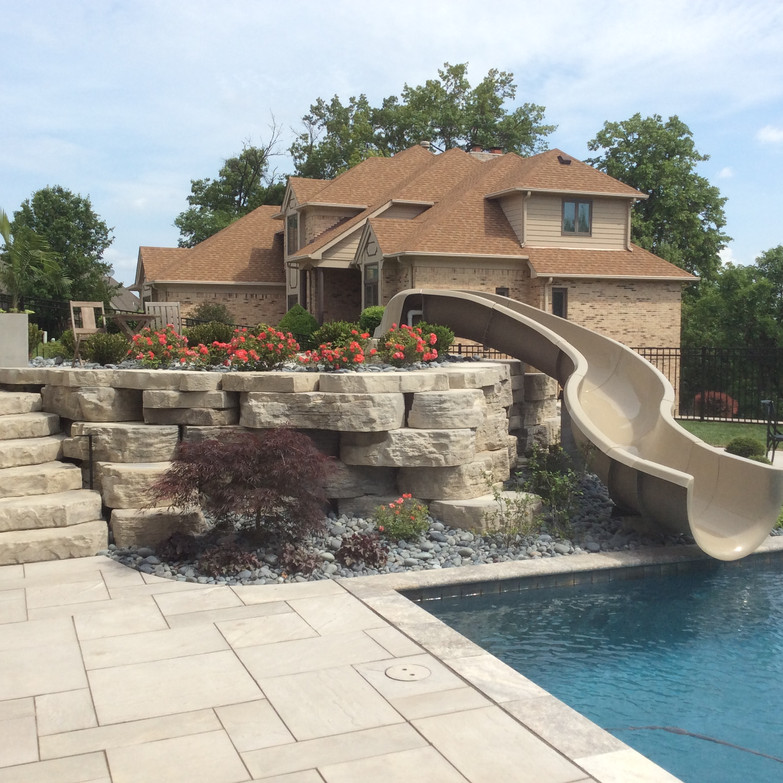 Pool wall with landscaping