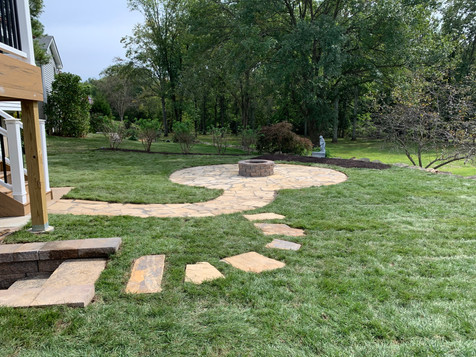 Custom flagstone patio and firepit