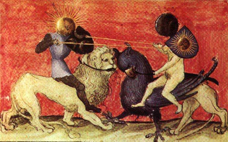 """La """"conjonction des opposés"""", ou réunion des contraires représente la conjonction du conscient et de l'inconscient (gravure alchimique extraite du traité Aurora consurgens, environ 1500)."""