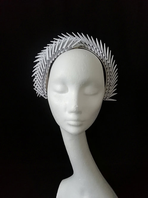 Aslaug White Origami Headpiece
