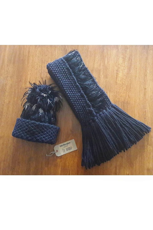 Luxury Alpaca/Merino Black Button Scarf & Hat Set