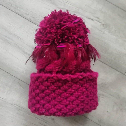 Deep Pink LynchMob Hat with Hackle & Partridge Feathers