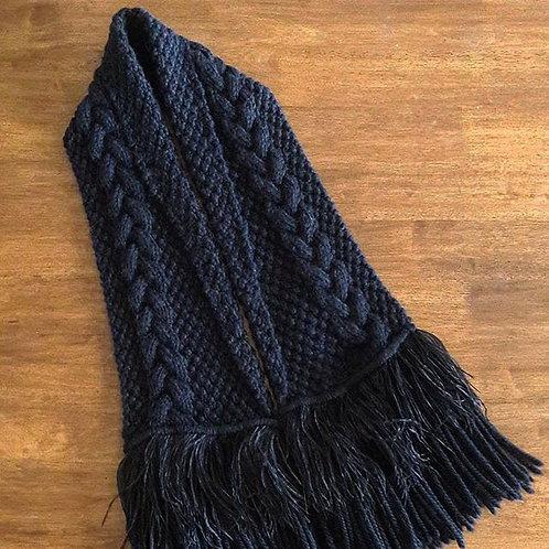 Black Cable Luxury Alpaca/Merino Scarf