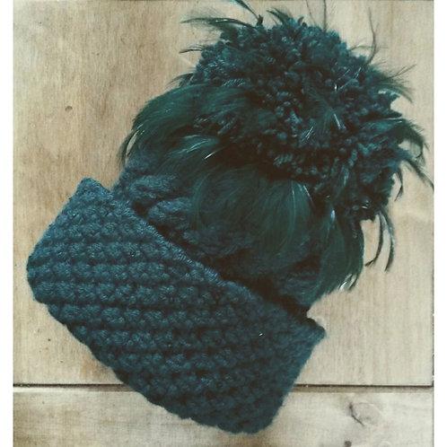 Forest Green Aran Wool Blend Hat