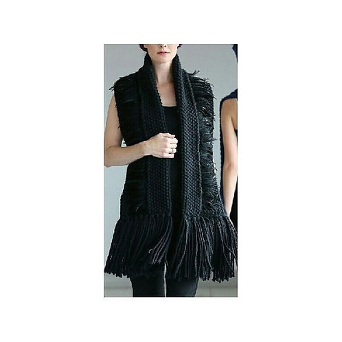 Black Luxury Alpaca/Merino Button Scarf
