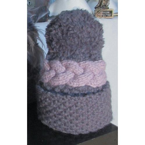 *Last Chance to Buy* Charcoal with Rose Luxury Alpaca/Merino Hat