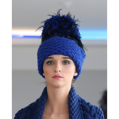 Royal Blue with Navy Feathers Aran Wool Blend Hat