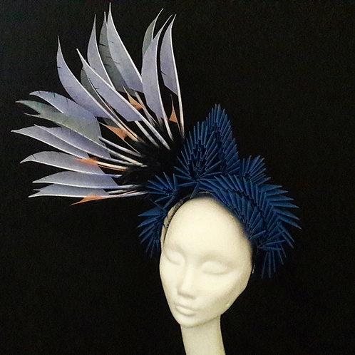 'Lagertha' Feather, Origami & Swarovski Crystal Headpiece