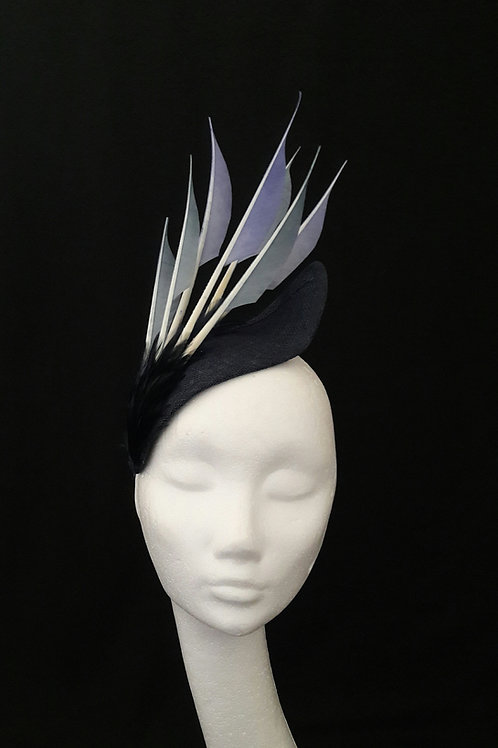 Sigrid - Navy Headpiece with Feather Trim