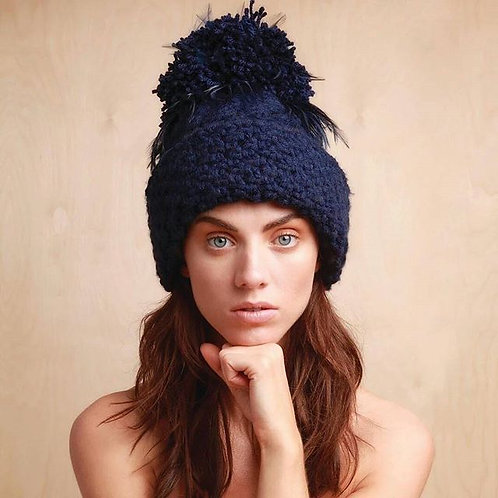 Navy with Black Feathers Aran Wool Blend Hat