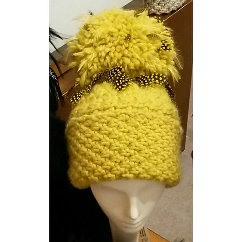 Citrus with Polka Dot Luxury Alpaca/Merino Hat
