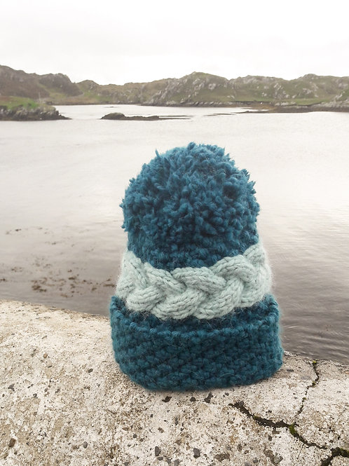 *Last Chance to Buy* Teal with Duck Egg Luxury Alpaca/Merino Hat