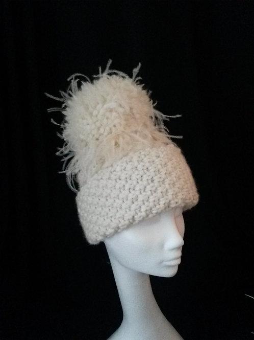 Ivory Cream Aran Hat