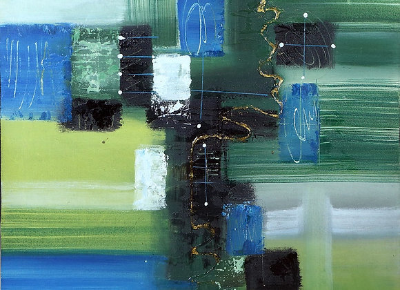 Abstract in Blue Green Painting