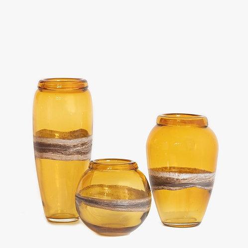 Amber Glass Vase (set of 3)