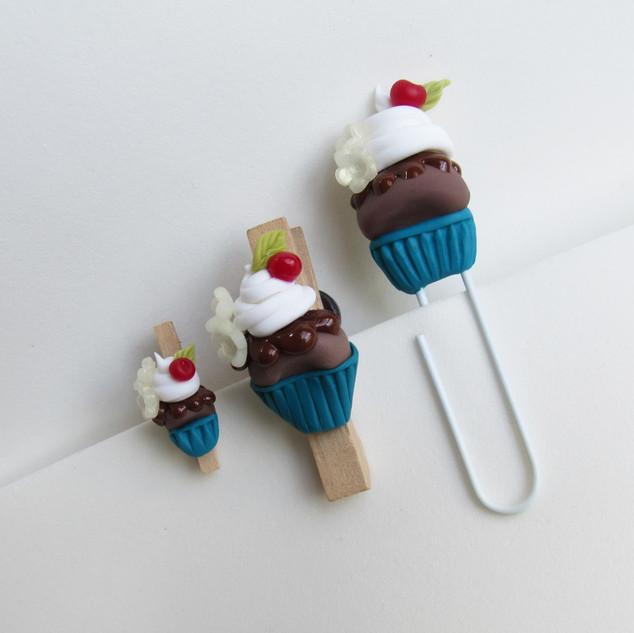 Kit Clipes e imã porta recados Cupcake