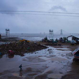 In picture - Altaf Manzil's debris at Mahim beach