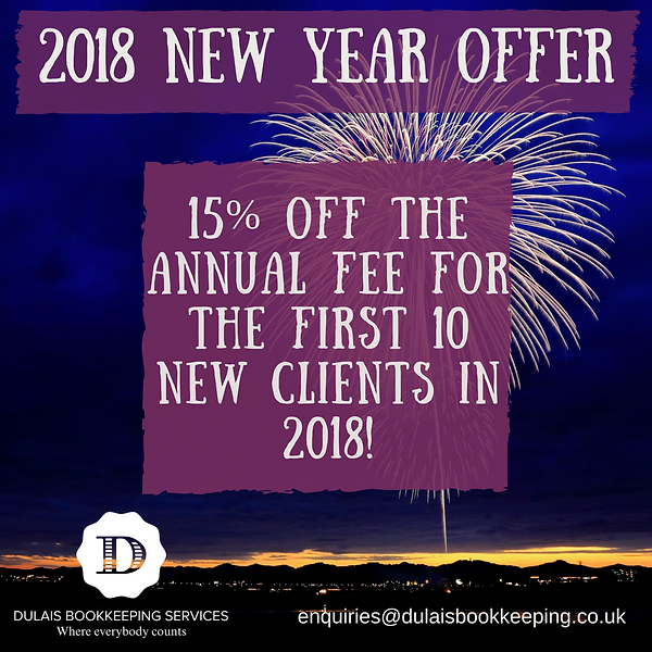 Dulais Bookkeeping Services | 2018 Offer